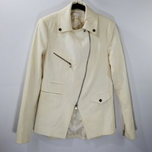 Veronica Beard Off White Cotton Zip Up Jacket 2